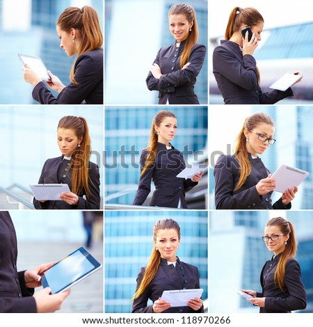 Collage of businesswoman working on digital tablet outdoor over building background - stock photo