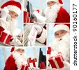 Collage of busy Santa Claus preparing for Christmas and looking at camera - stock photo