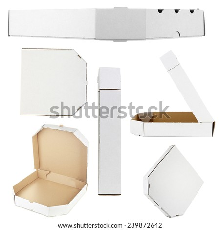 Collage of cardboard pizza boxes, isolated on white - stock photo