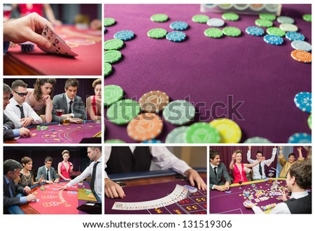 Collage of casino imagery with poker and people cheering - stock photo