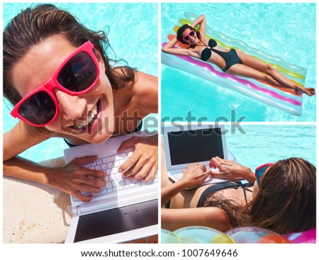 Collage of Caucasian woman using laptop at poolside and looking at camera. Summer time. Freedom and travel concept.