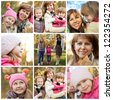 Collage of cheerful family in autumnal park - stock photo