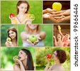 Collage of cheerful young beautiful women with apples on green summer park. - stock photo