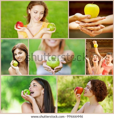 Collage of cheerful young beautiful women with apples on green summer park.