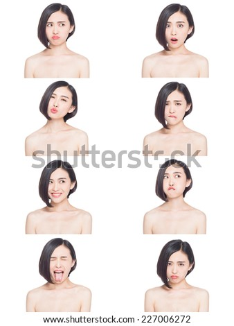 collage of chinese woman different facial expressions - stock photo