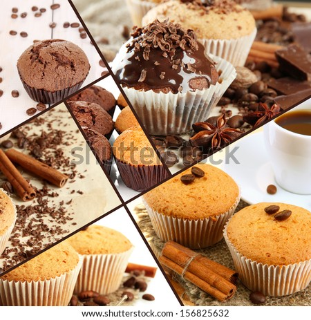 Collage of chocolate cupcakes - stock photo