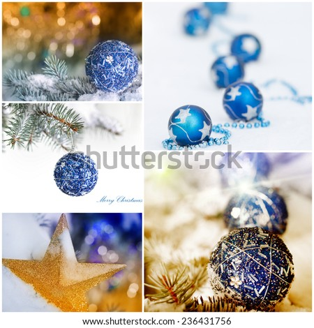 Collage of Christmas  decoration balls and star on snow and Christmas tree