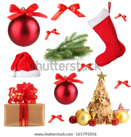 Collage of Christmas set isolated on white - stock photo