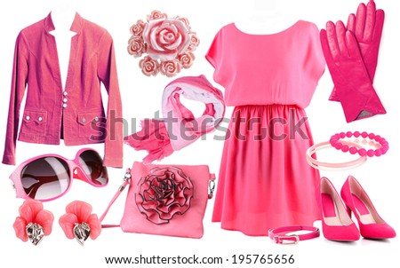 Collage of clothes in pink colors isolated on white - stock photo