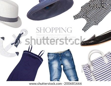collage of clothing and accessories in a marine style - stock photo