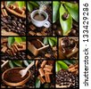 Collage of coffee and cinnamon details - stock photo