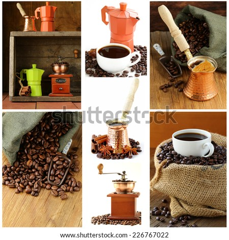 Collage of coffee in  bag and different utensils for boiling coffee - stock photo