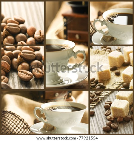 Collage of  coffee shots - stock photo