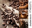 Collage of coffee still life - stock photo