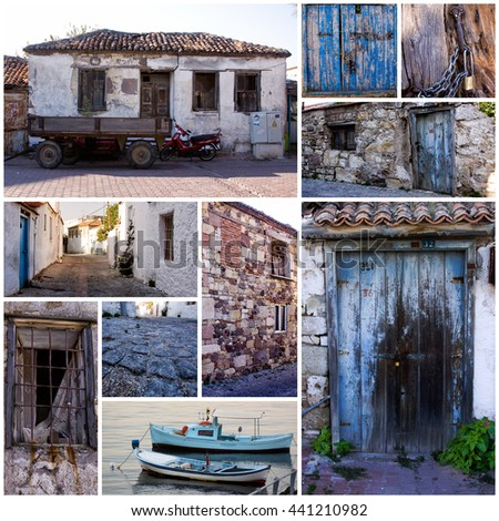 Collage of collection of city images of Candarli, Izmir, Turkey - stock photo