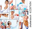Collage of collection of medical and chemical  professionals - stock