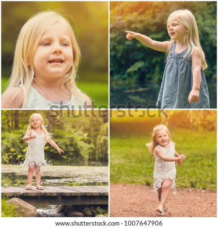 Collage of collection photos of little happy girl in park at summer.