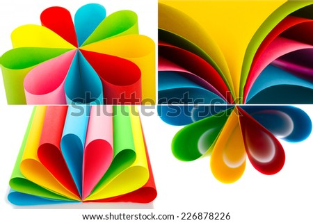 collage of colored paper - stock photo