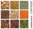 Collage of colorful sand sample from over the world - stock photo