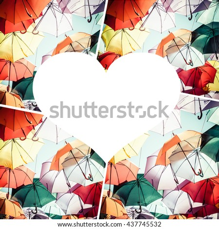 Collage of colorful umbrella street decoration. - stock photo