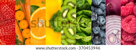 collage of colorful vegetables and fruits - stock photo