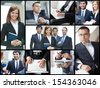 Collage of confident businesspeople in different situations - stock photo