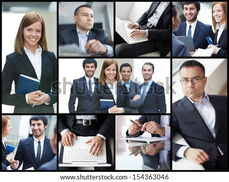Collage of confident businesspeople in different situations