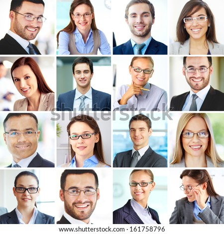 Collage of confident employees looking at camera with smiles