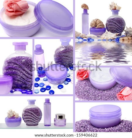 Collage of cosmetic products on white background - stock photo