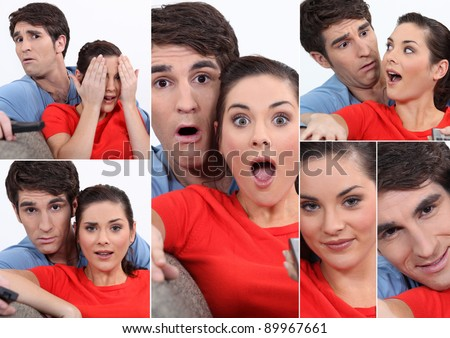 Collage of couple watching TV - stock photo