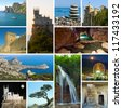 Collage of Crimea Ukraine images - travel and nature background (my photos) - stock photo