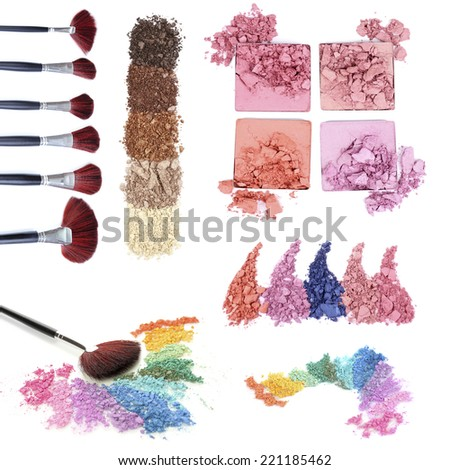 Collage of crushed eyeshadow with brushes isolated on white