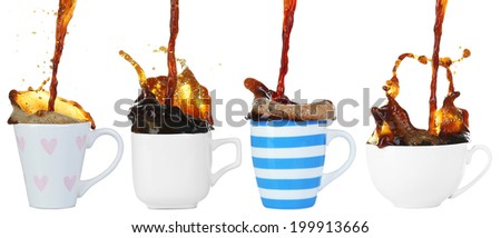 Collage of cups of coffee with splashes, isolated on white - stock photo