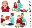 Collage of cute children isolated on white - stock photo