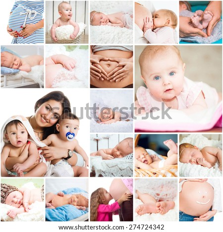 collage of cute photos  young mothers and their babyes - stock photo