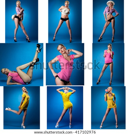 Collage of cute pin-up girl posing in studio