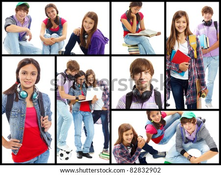 Collage of cute teens in studying process and at leisure - stock photo