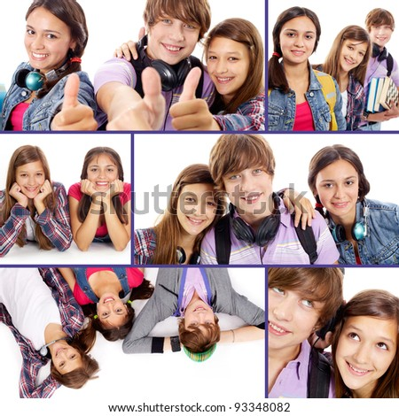 Collage of cute teens on white background - stock photo