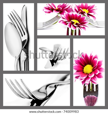 Collage of cutlery in different positions on white with space for text - stock photo