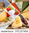 Collage of delicious cheeses - stock photo