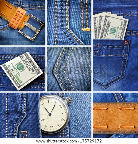Collage of denim and U.S. dollars and old clock - stock photo