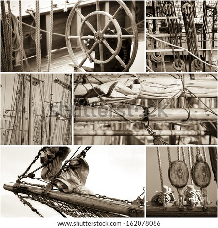 Collage of details of old sailing vessels, colored - stock photo