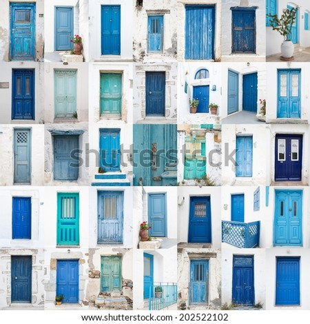 Collage of different blue old wooden doors from greek islands - Traveling around the cyclades. - stock photo