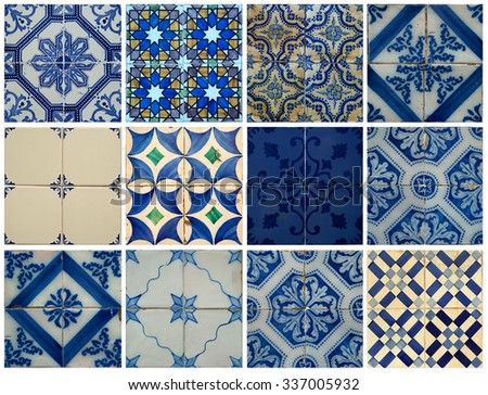 Collage of different blue pattern tiles in Lisbon, Portugal - stock photo