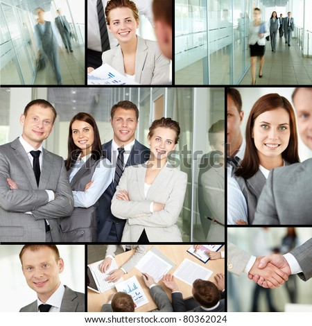 Collage of different business people in office - stock photo