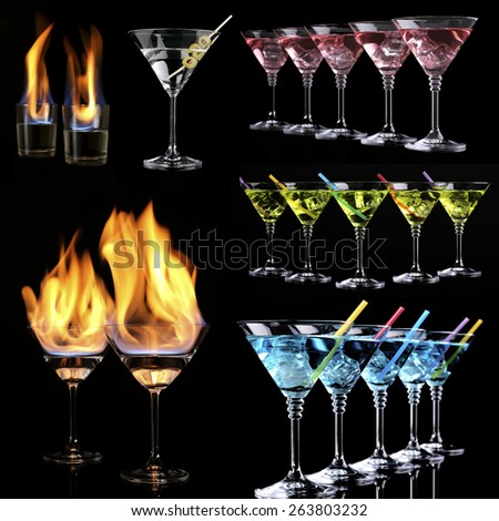 Collage of different cocktails on black background - stock photo