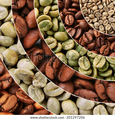 Collage of different coffee beans - stock photo