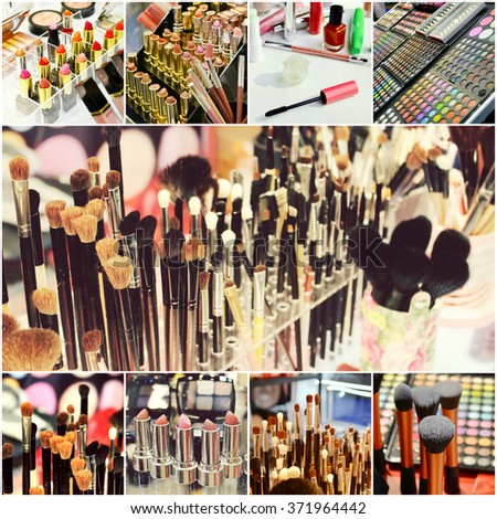 Collage of different cosmetic brushes for makeup and set of colorful lipsticks with other cosmetics on a dressing table - stock photo