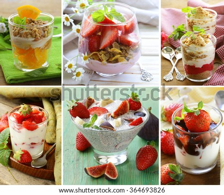 collage of different desserts in a glass (with fruit and granola) - stock photo