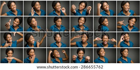 Collage of different facial expressions - stock photo